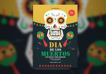 Yellow and Black Dia De Los Muertos Flyer Layout with Illustrative Skull