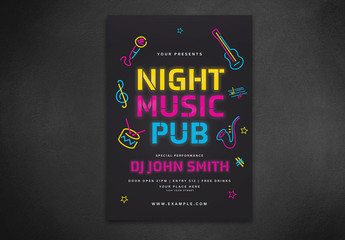 Music Event Flyer Layout with Neon Light Elements