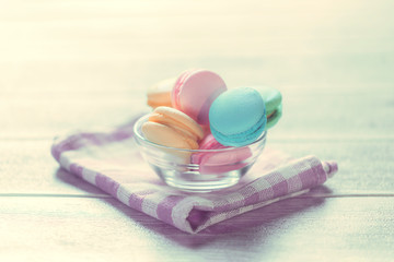 Colourful macaroons in bright environment