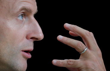 French President Emmanuel Macron gestures during the annual conference hosted by the French state bank BPI in Paris