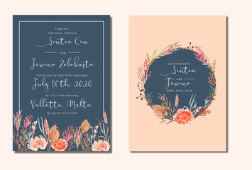 Wedding Invitation with beautiful dry flowers watercolor