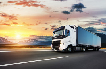 European truck vehicle with dramatic sunset light