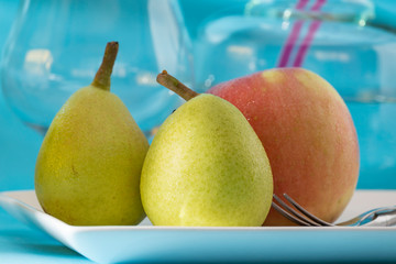 breakfast with fruits, pears and apples
