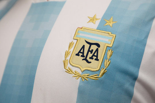 BANGKOK THAILAND - JUNE 4: the logo of  Argentina National Football Team on Football Jersey on June 4,2018