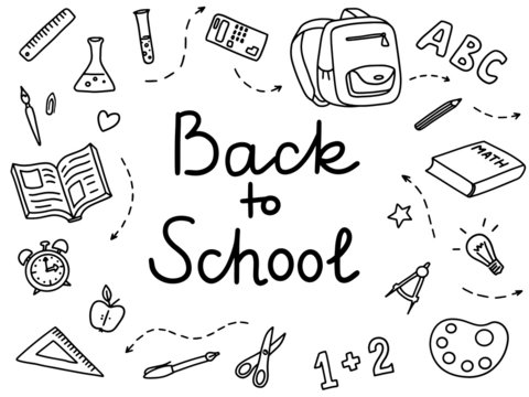 "Doodle set ""Back to school"". Lessons objects drawn by hand in a childish manner. Cute vector outlined cartoon drawings."