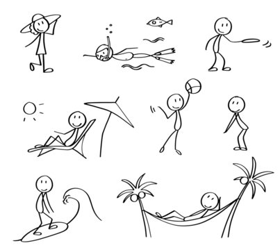 Set of summer vacation stick figures. Hand drawn black and white stick men symbolizing rest on the vacation and different summer leisure activities. Cute cartoon characters, simple drawn vectors.