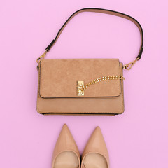 Fashion beige lady clutch and shoes. Trendy flat lay classical look
