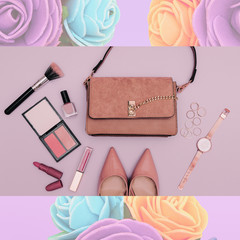Fashion beige lady clutch bag, shoes and accessories. Trend cosmetics.  Stylish flat lay look