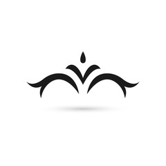 Vector illustration of hand drawn fancy flower branch and leaves. Black and white graphic for tattoo, print, coloring book. Isolated on white background.