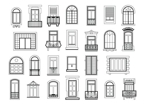 Vector illustrations set with different silhouettes of window frames. Window frame silhouette for house or home, construction windows architectural classic