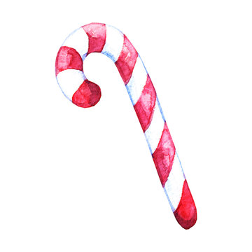 Watercolor hand drawn sweet peppermint candy cane striped in christmas colors isolated on a white background. Design for  card, print, invitation