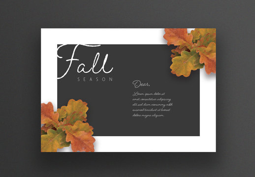 Fall Season Card Layout with White Frame