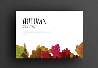 Autumn Card Layout with Colorful Leaves