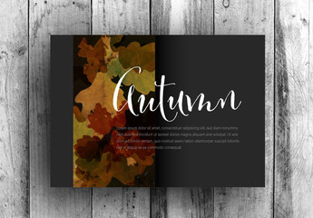 Dark Card Layout with Autumn Imagery