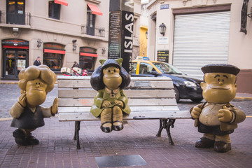 17 August 2017, Mafalda - Argentine comic strip character. Statue in San Telmo, Buenos Aires, Argentina