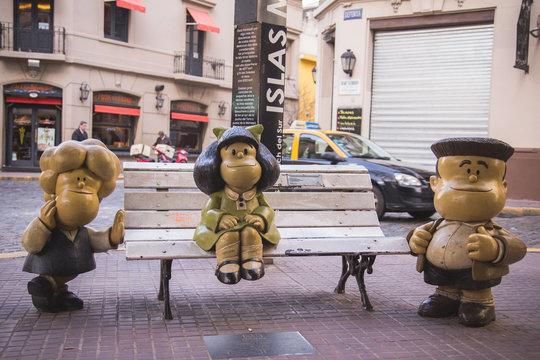 17 August 2017, Mafalda - Argentine comic strip character. Statue in San Telmo, Buenos Aires, Argentina
