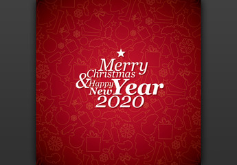 Square Christmas Card Layout with Red Background
