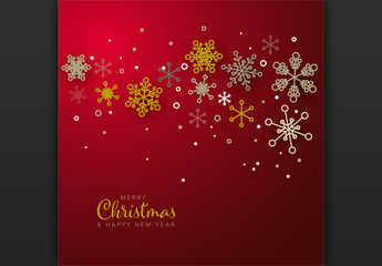 Web Christmas Card Golden Snowflakes Layout