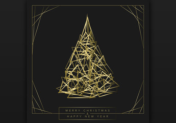 Geometric Christmas Tree Card Layout with Golden Elements