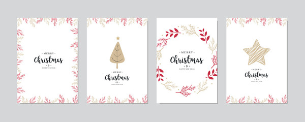 Wall Mural - Christmas card set Holly jolly greeting lettering vector.
