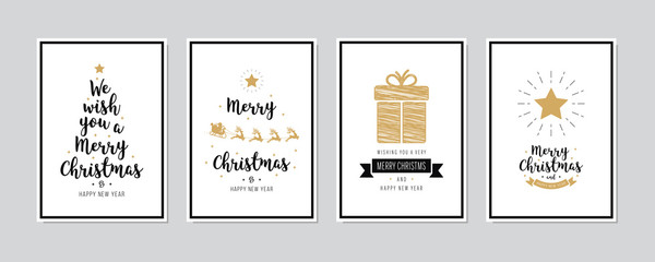 Wall Mural - Merry Christmas greeting text lettering card set white background vector.