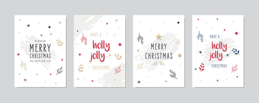 Christmas card set Holly jolly greeting lettering vector.