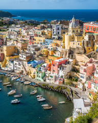 Foto op Plexiglas Napels Panoramic sight of the beautiful island of Procida, near Napoli, Campania region, Italy.
