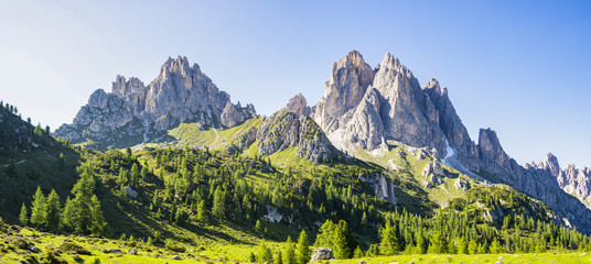 View of the Dolomite mountains near Misurina, Veneto - Italy