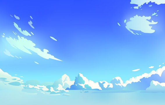 Vector landscape sky clouds. Sunny day. Anime style. Background design