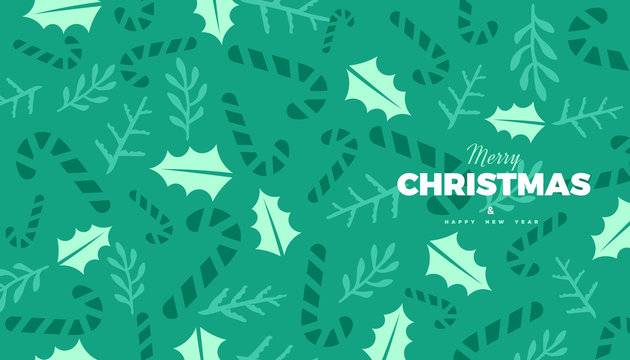 Christmas or New Year commercial banner background with candies, and forest leaves retro style vector winter design