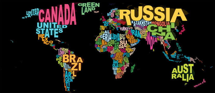 World Map Wordle Countries Word Cloud Neon