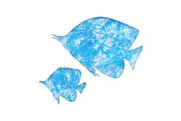 Ocean fish silhouettes from blue pieces of hard bottle- plastic with paper cut effect. Isolated element for design- concept of saving the environment and pollution of the world ocean
