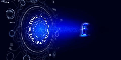 Pound Symbol is Pulling In By A Futuristic HUD Against Blue