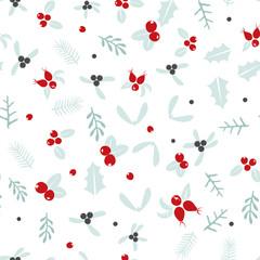 Vintage Christmas seamless pattern background winter nature design
