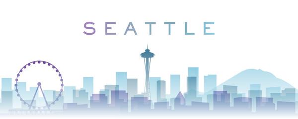 Seattle Transparent Layers Gradient Landmarks Skyline Wall mural