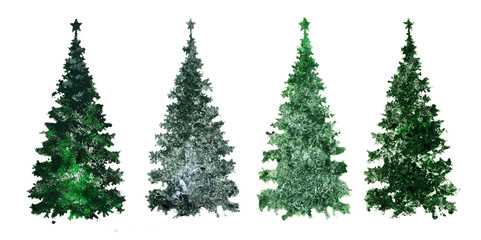 beautiful Christmas trees, set of elements for design, mixed technique.
