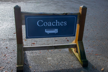 Coaches information sign in a car park