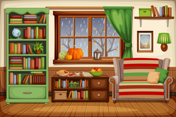 Vector illustration of a cozy autumn living room interior with a sofa, a bookcase and rain outside the window.