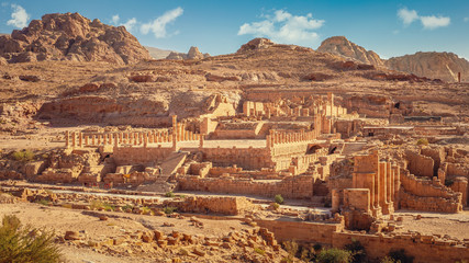 Scenic view of the Great Temple, one of the major archeological and architectural complex of central Petra, Jordan