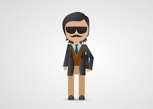 Mafia Gangster Cartoon Vector Business Man Isolated On Gray Background Mafia Mob Character Design Vector Illustration Cartoon Gangster Mafia Avatar Man Icon Stock Vector Adobe Stock