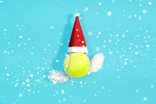 Christmas and New year concept with tennis balls top view.