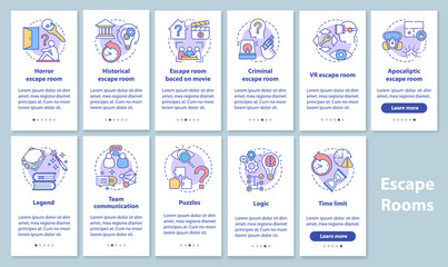 Escape room onboarding mobile app page screen set with linear concepts. Quest game classification, categories. Walkthrough graphic instructions. UX, UI, GUI vector template illustrations pack