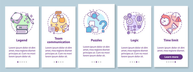 Escape room onboarding mobile app page screen with linear concepts. Quest game. Team communication, logic. Five walkthrough steps graphic instructions. UX, UI, GUI vector template with illustrations