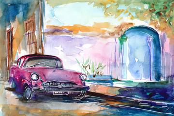 Ręcznie malowany akwarelą widok ulicy  w Hawanie na Kubie