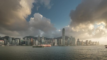 Fotomurales - Hong Kong sunset, time lapse