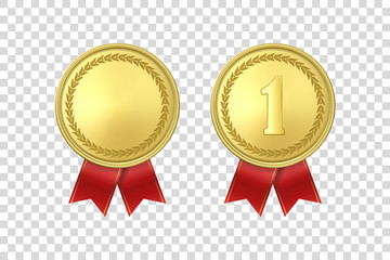 Vector 3d Realistic Gold Award Medal Icon Set with Red Ribbons Closeup Isolated on Transparent Background. Design Template, Mockup. Blank and The First Place, Prize. Sport Tournament, Victory Concept