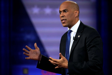 Democratic 2020 U.S. presidential candidate Senator Cory Booker (D-N.J.) gestures in a televised townhall on CNN dedicated to LGBTQ issues in Los Angeles, California