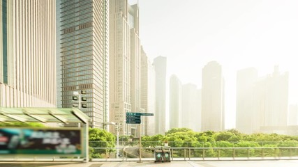 Fotomurales - hyper lapse, Pudong financial district Shanghai, China
