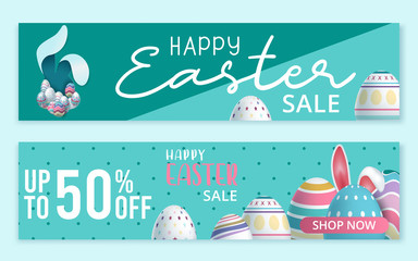 Happy Easter sale banner, poster, invitation, leaflet template design. Vector illustration