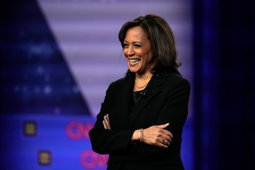 Democratic 2020 U.S. presidential candidate Senator Kamala Harris (D-CA) reacts during a televised townhall on CNN dedicated to LGBTQ issues in Los Angeles, California